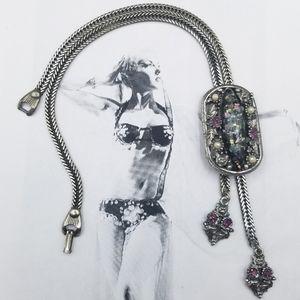 Vintage Selro Selini confetti lucite bolo necklace